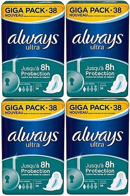 NEUF Aways Ultra Lot de 4 Giga Pack Normal+ 152 Protections Serviettes féminines