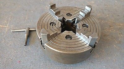 "Vintage Union MFG. U-765 6"" 4 Jaw Lathe Chuck 1 1/2"" - 8 TPI with Key"