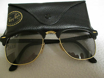 Ray Ban black / gold frame polarized Clubmaster sunglasses. RB 3016. With case.
