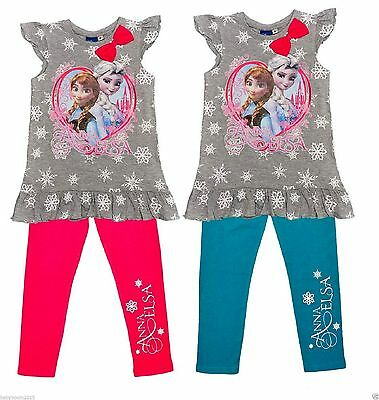 Disney Frozen Elsa Anna 2tlg Set Volant Top Tshirt Leggings Tunika Schneeflocken