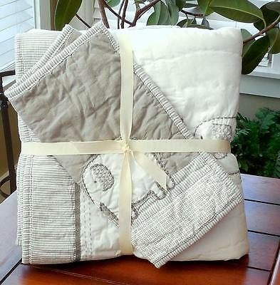 Pottery Barn Kids New Taylor Organic Toddler Quilt Gray & White Elephant