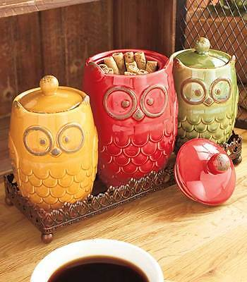 Owl 4-Pc Ceramic Canisters & Decorative Tray Set Cookie Snack Jar Sugar Kitchen