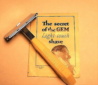Vintage Gem  Featherweight Single Edge Safety Razor With Smooth  Cap Tab