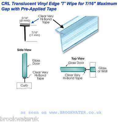 """Shower Seal Self-Adhesive """"t"""" Shape, Fix To Glass Door/wall 11Mm High 2.49M Long"""
