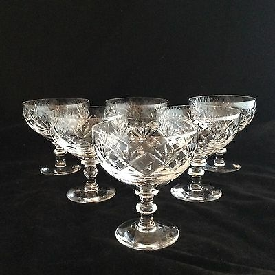 Set Of Six Cut Glass Champagne Coupes/sundaes/sorbet Glasses