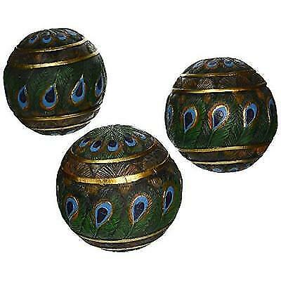 Design Toscano Peacock Feathered Orbs Decorative Accent Balls (Set of Three) New