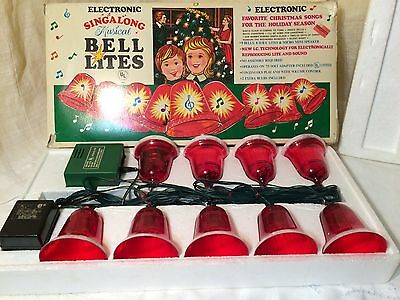 Vintage Christmas Decorations Electronic Singalong Musical Bell Lites Working!