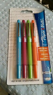 Paper Mate Flair 4-Pack Felt Tip Pens Medium Point Assorted Bold Colors