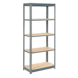 "Heavy Duty Shelving 48""W x 24""D x 72""H With 5 Shelves, Wood Deck"