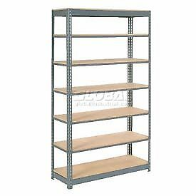 "Heavy Duty Shelving 48""W x 18""D x 96""H With 7 Shelves, Wood Deck"