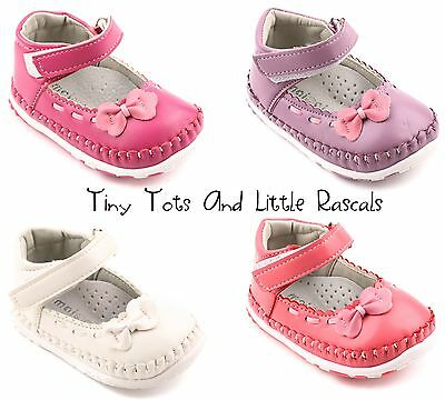 Girls Ballerina First Pram Shoes Occasion Party Leather Insole Size UK 1 - 4