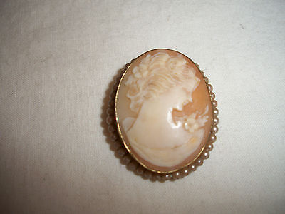 Antique Cameo Woman 12K Gold Filled Faux Pearls Brooch Pin