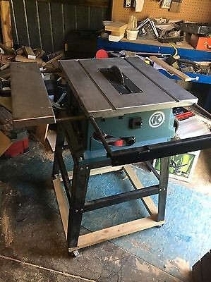 "Table Saw 10"" Wesco, stand, crosscut sled, rolling locking base, fence, mitre"