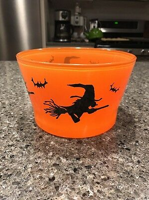 Vintage Indiana Orange Glass Halloween Witch Bat Ice Bucket / Candy Bowl