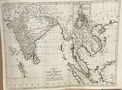 1768 South East Asia & India Large Antique Map By Blair & Kitchin 249 Years Old