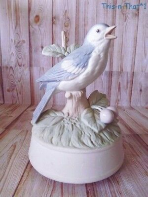 Vintage Blue Bird Porcelain Figurine Music Box Crowning Touch What Child Is This