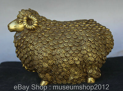 """7"""" Chinese Feng Shui Copper Coins Zodiac Year Sheep Goat Wealth Statue Sculpture"""