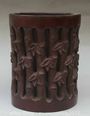 """7"""" Chinese Dynasty Palace Bamboo Hand-carved Hollow Out Brush Pot Pencil Vase"""