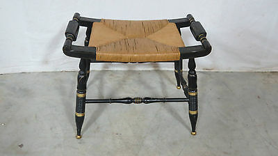 Hitchcock Rush Vanity Bench Stool Farmhouse
