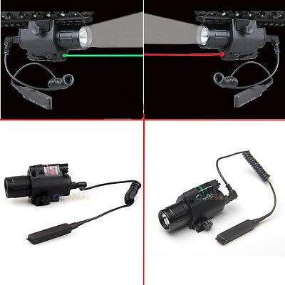 Tactical Led Flashlight Red/Green Laser Sight Combo Scope Picatinny Mount