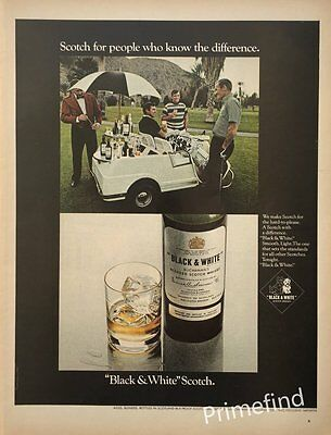 1969 BLACK & WHITE SCOTCH Golf Cart & Bar ORIGINAL  PRINT AD
