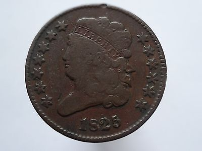 1825 Classic Head Half Cent, Fine  ~  Scarce Date, Only 63,000 Minted!