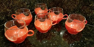 6 Vtg Mid Century Modern RED Pyrex Glass & Plastic Roly Poly Coffee Cups Mugs