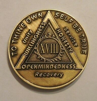 aa bronze alcoholics anonymous 18 year sobriety chip coin token medallion NEW