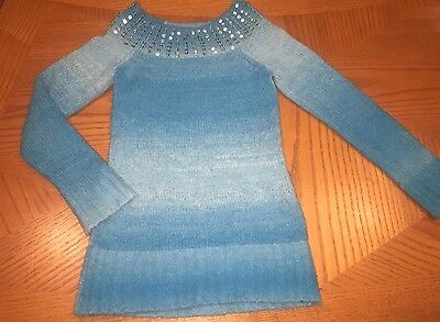 Girls JUSTICE Soft Blue Ombré Sweater W Sequin Size: 6