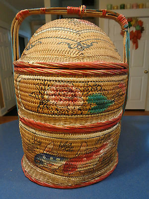 Antique Malaysian Wedding Basket ~ Oriental Hand Painted Stacking Picnic Basket