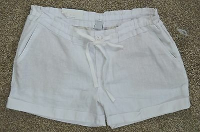 Old Navy new Women's White Linen Blend Elastic Drawstring Waist Shorts sz 2 NWT