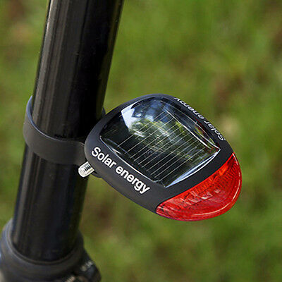 Solar Powered Bicycle Bike Rear Back Safety Light 3 Function LED Tail Lamp Red