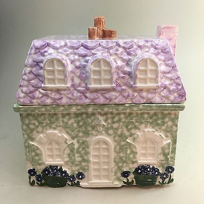 Spring Cottage House Pier 1 Imports Ceramic Cookie Jar With Lavender Roof