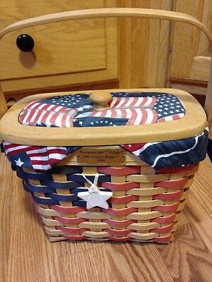Longaberger 1999 20th Century Basket w/ Lid, Liner,Protector,Tie on & Signatures
