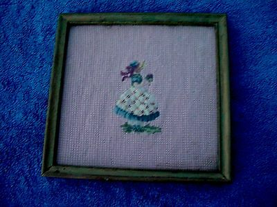 c Antique Framed Knitted Cross Stitch Southern Girl Lady W/ Bouquet Picture