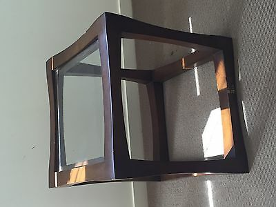 side table glass and timber