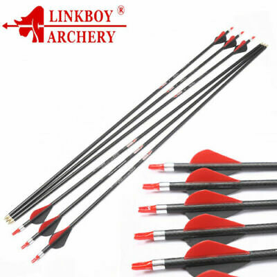 "12)  archery carbon arrow shaft W/ 3K carbon weave 32"" SP340 ID6.2mm BlAZER vane"