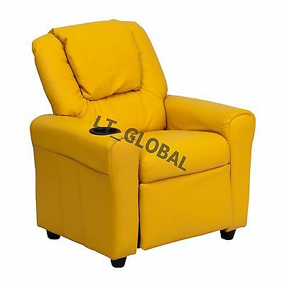 Kids Padded PU Leather Recliner Chair Children Sofa Arm Drink Holder -Yellow