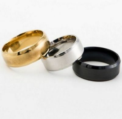 Rings European Style 8MM Stainless Steel Ring Band Black Gold Classic JW1R027