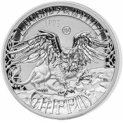 2016 2 Oz Silver GRIFFIN Legends And Myths Coin 5$ Solomon Islands.