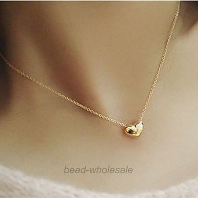 Heart Charm Gold Plated Pendant Chain Necklace Jewelry Gift for Lady Girls