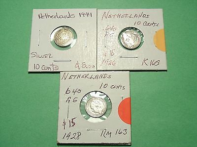Netherlands lot of 3 Silver Coins Scarce Dates