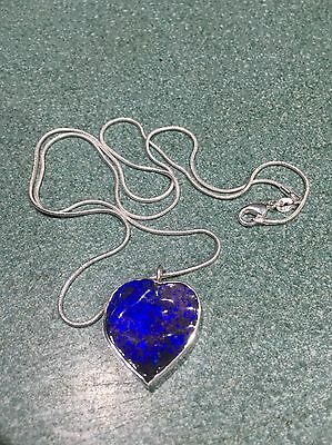 Large Blue Heart Shaped Boulder Opal Pendant 63.8 Ct In 925 Stirling Silver.