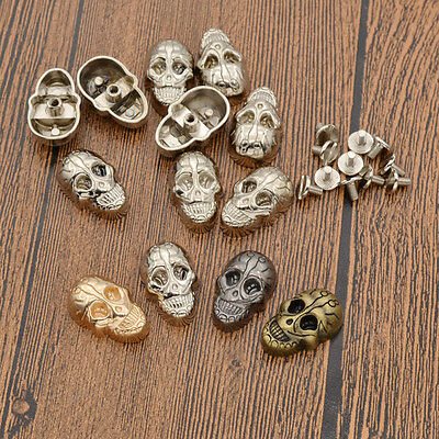 10 Pcs Skull Rivet Studs with Screw for DIY Shoes Bag Leathercraft Rock Alloy