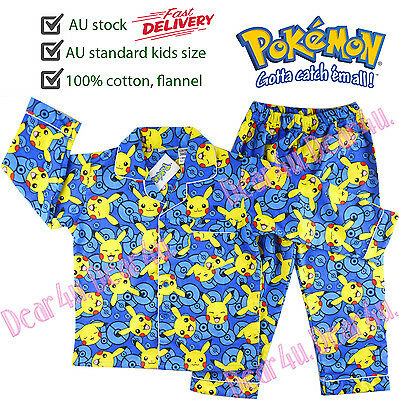 Boys POKEMON go Pikachu Flannel pjs pyjamas kids sleepware 100% cotton size 4-12