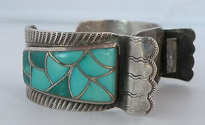 Large old Native American, Zuni Turquoise inlay Sterling watch band- ERVIN LUCIO