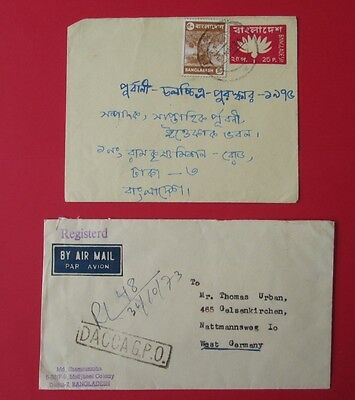 BANGLADESH 2 covers stationery 1976 registered DACCA GPO
