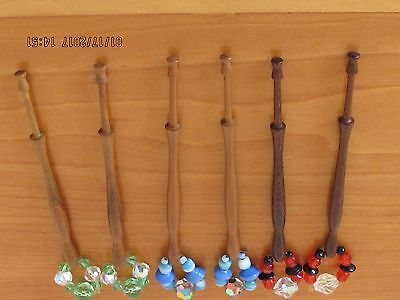 3 Pairs Of Wooden - Shaped  Lace Bobbins Spangled With Glass Beads