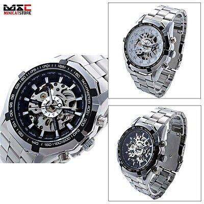 Stainless Steel Skeleton Self-wind Auto Sport Mechanical Mens Wrist Watches Gift