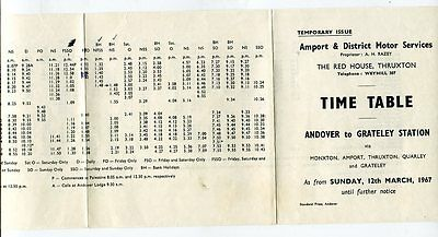 Amport & District Motor Services: Andover to Grateley Station Timetable: 1967